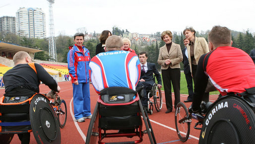 Mrs. Laura Bush visits with members of the Russian Paralympic Team Sunday, April 6, 2008, during a visit to Central Sochi Stadium in Sochi, Russia. White House photo by Shealah Craighead