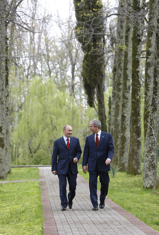 President George W. Bush and Russia's President Vladimir Putin walk together before the start of their joint press availability, Sunday, April 6, 2008, at President Putin's summer retreat, Bocharov Ruchey, in Sochi, Russia. White House photo by Eric Draper