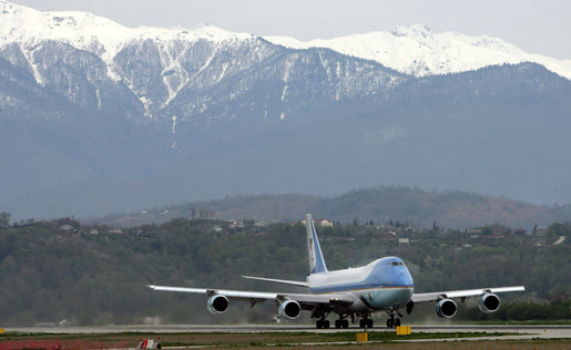 Air Force One, with President George W. Bush and Mrs. Laura Bush aboard, departs Sochi Airport in Sochi, Russia Sunday, April 6, 2008, for Washington, D.C. White House photo by Chris Greenberg