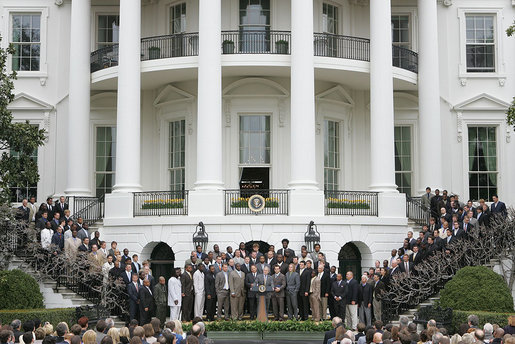 The Louisiana State University Tigers appear on the South Lawn Monday, April 7, 2008, as President George W. Bush welcomes the 2007 NCAA National Football to the White House. White House photo by Chris Greenberg