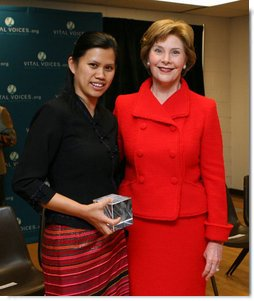 Mrs. Laura Bush poses for a photo with Charm Tong following the 2008 Vital Voices Global Leadership Awards Gala Monday, April 7, 2008, at The John F. Kennedy Center for Performing Arts in Washington, D.C. Mrs. Bush presented Charm Tong with the 2008 Vital Voices Global Leadership Award for her dedication in co-founding SWAN, the Shan Women's Action Network and established a school for Shan State youth who have fled Burma for Thailand.  White House photo by Shealah Craighead