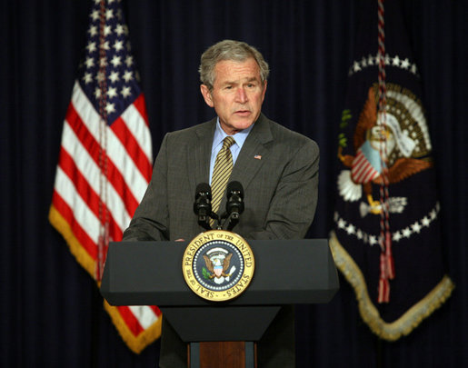 President George W. Bush delivers remarks on the Columbian Free Trade Agreement Monday, April 7, 2008, in Dwight D. Eisenhower Executive Office Building. White House photo by Joyce N. Boghosian