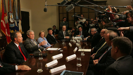 President George W. Bush meets with small and mid-sized business owners on the Economic Stimulus Package Monday, April 7, 2008, in the Roosevelt Room of the White House. White House photo by Joyce N. Boghosian