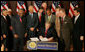 President George W. Bush signs H.R. 1593, the Second Chance Act of 2007, during a ceremony Wednesday, April 9, 2008, at the Eisenhower Executive Office Building. The Second Chance Act aims to reduce prison populations and corrections costs by reducing the recidivism rate. The bill provides Federal funding to develop programs dealing with job training, substance abuse, and family stability, as well as for employers who hire former prisoners. White House photo by Joyce N. Boghosian