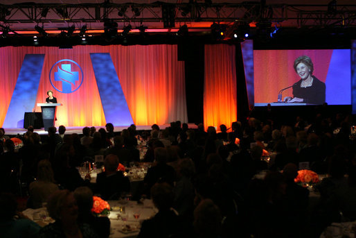 "Mrs. Laura Bush accepts the 2008 Robert S. Folsom Leadership Award, presented by the Methodist Health System Foundation, Thursday, April 10, 2008, during an awards dinner at the Hilton Anatole Hotel in Dallas. In accepting the award, named after former Dallas Mayor Robert S. Folsom and which recognizes individuals who have demonstrated commitment and excellence in community leadership, Mrs. Bush said, ""For more than 80 years, Methodist Health System has been an essential part of the Dallas community, and its good work reflects the faith-based principles of life, learning and compassion on which it was founded. I am honored to be here today to receive the Robert S. Folsom Leadership Award."" White House photo by Shealah Craighead"