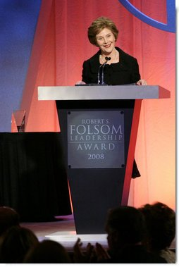 Mrs. Laura Bush accepts the 2008 Robert S. Folsom Leadership Award Thursday, April 10, 2008, in Dallas. The award, presented by the Methodist Health System Foundation, recognizes individuals who have demonstrated a commitment to community leadership emulating the achievements of former Dallas Mayor Robert Folsom.  White House photo by Shealah Craighead