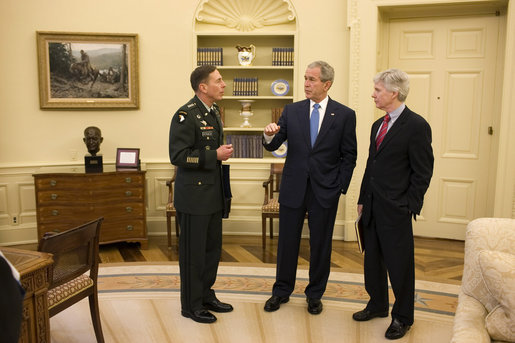 President George W. Bush meets with General David Petraeus, Commander of the Multi-National Force-Iraq, and U.S. Ambassador to Iraq Ryan Crocker Thursday, April 10, 2008, at the White House. White House photo by Eric Draper