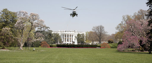 Marine One, with President George W. Bush aboard, departs from the South Lawn of the White House Thursday, April 10, 2008, en route to Andrews Air Force Base. White House photo by Grant Miller