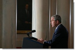 "President George W. Bush delivers a statement on Iraq Thursday, April 10, 2008, from Cross Hall in the White House. Said the President, ""All our efforts are aimed at a clear goal: A free Iraq that can protect its people, support itself economically, and take charge of its own political affairs."" White House photo by Joyce N. Boghosian"