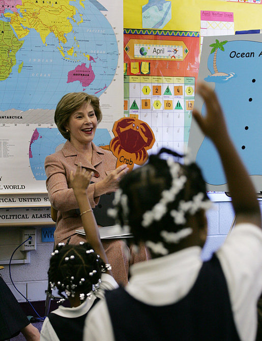 Mrs. Laura Bush participates in a class program with the first grade students of teacher Laura Gilbertson Monday, April 14, 2008, at the Martin Luther King Elementary School in Washington, D.C., to mark the tenth anniversary of Teach for America Week. White House photo by Shealah Craighead