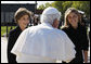 Mrs. Laura Bush and Jenna Bush greet Pope Benedict XVI on his arrival to Andrews Air Force Base, Md., Tuesday, April 15, 2008, the first stop of a six-day visit to the United States. White House photo by Eric Draper