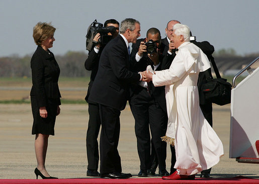 President George W. Bush and Laura Bush greet Pope Benedict XVI on his arrival to Andrews Air Force Base, Md., Tuesday, April 15, 2008, the first stop of a six-day visit to the United States. White House photo by Shealah Craighead