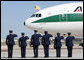 Military personnel salute as the Alitalia jetliner carrying Pope Benedict XVI arrives at Andrews Air Force Base. The Pontiff will be welcomed Wednesday at the White House and will celebrate Mass Thursday morning before continuing his U.S. visit in New York City. White House photo by Chris Greenberg