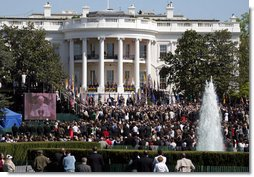 Pope Benedict XVI delivers a message to thousands of invited guests Wednesday, April 16, 2008, on the South Lawn of the White House. White House photo by Grant Miller