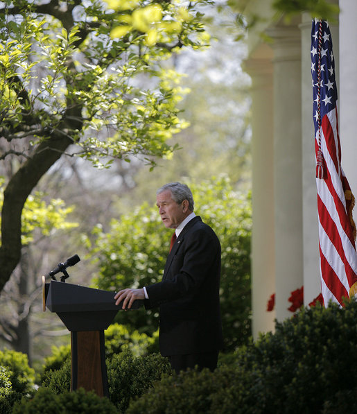"President George W. Bush speaks on climate change during remarks from the Rose Garden Wednesday, April 16, 2008, at the White House. Said the President, ""I'm confident that with sensible and balanced policies from Washington, American innovators and entrepreneurs will pioneer a new generation of technology that improves our environment, strengthens our economy, and continues to amaze the world."" White House photo by Noah Rabinowitz"