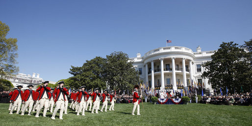 Members of the U.S. Army Old Guard Fife and Drum Corps perform on the South Lawn of the White House April 16, 2008, at the welcoming ceremony for Pope Benedict XVI. White House photo by Eric Draper