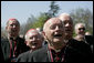 "Members of the clergy sing ""Happy Birthday"" to Pope Benedict XVI in celebration of the Pope's 81st birthday, Wednesday, April 16, 2008, during an arrival ceremony for the Holy Father on the South Lawn of the White House. White House photo by David Bohrer"