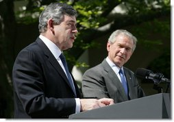 "Prime Minister Gordon Brown of the United Kingdom, remarks during a joint press availability Thursday, April 17, 2008, in the Rose Garden of the White House. Said Prime Minister Brown, ""The world owes President George Bush a huge debt of gratitude for leading the world in our determination to root out terrorism, and to ensure that there is no safe haven for terrorism and no hiding place for terrorists."" White House photo by Joyce N. Boghosian"