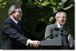 Prime Minister Gordon Brown of the United Kingdom, and President George W. Bush break out in laughter as they respond to a reporter's questions Thursday, April 17, 2008, during a joint press availability at the White House. White House photo by Joyce N. Boghosian