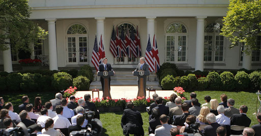 President George W. Bush and Prime Minister Gordon Brown hold their joint press availability Thursday, April 17, 2008, in the Rose Garden of the White House. White House photo by Noah Rabinowitz