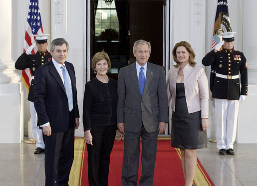 President George W. Bush and Laura Bush welcome British Prime Minister Gordon Brown and his wife, Sarah Brown, to the White House Thursday evening, April 17, 2008, for a private social dinner. White House photo by Shealah Craighead