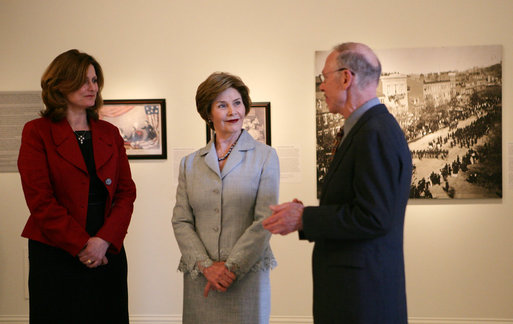 "Mrs. Laura Bush and Mrs. Sarah Brown, wife of the Prime Minister of the United Kingdom, participate in a tour led by Mr. Charles Robertson, Guest Curator, ""The Honor of Your Company Is Requested: President Lincoln's Inaugural Ball"" Exhibit, Thursday, April 17, 2008, during their visit to the Smithsonian American Art Museum in Washington, D.C. White House photo by Shealah Craighead"