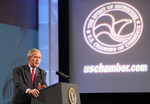 President George W. Bush delivers remarks Friday, April 18, 2008, during the America's Small Business Summit 2008 at the Renaissance Washington, D.C. Sponsored by the U.S. Chamber of Commerce, America's Small Business Summit 2008 provides U.S. Chamber of Commerce members and other small business owners with an opportunity to participate in sessions on relevant policy and management issues. White House photo by Chris Greenberg