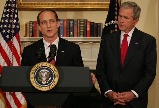 "President George W. Bush listens as Steve Preston, the President's nominee for Secretary of Housing and Urban Development, makes remarks during the announcement Friday, April 18, 2008, in the Roosevelt Room of the White House. Acknowledging the President's nomination, Mr. Preston said, ""As we help people pursue the American Dream, we need to have a market to operate fairly and effectively for all Americans. And our solutions must restore confidence in our markets, while not erecting barriers to future entrepreneurs, investors and home buyers."" White House photo by Shealah Craighead"