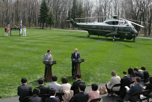 President George W. Bush and South Korean President Lee Myung-bak make remarks during a joint press availability Saturday, April 19, 2008, at the Presidential retreat at Camp David, Md. White House photo by Joyce N. Boghosian