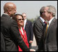 President George W. Bush is greeted by New Orleans Mayor Ray Nagin and his wife, Seletha Smith Nagin, on his arrival to Louis Armstrong New Orleans International Airport Monday, April 21, 2008, where President Bush will attend the 2008 North American Leaders' Summit. White House photo by Joyce N. Boghosian
