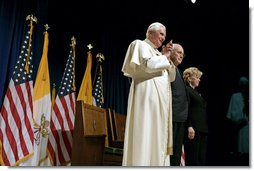 "Pope Benedict XVI is joined by Vice President Dick Cheney and Mrs. Lynne Cheney for a farewell ceremony in honor of the Pope, Sunday, April 20, 2008 at John F. Kennedy International Airport in New York. During the ceremony the Vice President said, ""Your presence has honored our country. Although you must leave us now, your words and the memory of this week will stay with us. For that, we are truly and humbly grateful.""  White House photo by David Bohrer"
