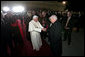 Vice President Dick Cheney and Mrs. Lynne Cheney bid farewell to Pope Benedict XVI Sunday, April 20, 2008, at John F. Kennedy International Airport in New York, wrapping up a six-day, U.S. visit that included a meeting with President George W. Bush, meetings with the Catholic faithful, interfaith dialogues and the celebration of Mass with over 57,000 people at Yankee Stadium in New York. White House photo by David Bohrer