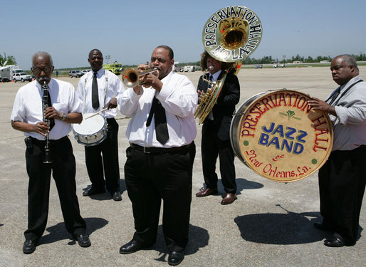 Members of the Preservation Hall Jazz Band are seen on the tarmac at Louis Armstrong New Orleans International Airport Monday, April 21, 2008, offering a musical welcome for North American leaders President George W. Bush, Mexico President Felipe Calderon and Canadian Prime Minister Stephen Harper at their arrivals to attend the 2008 North American Leaders' Summit. White House photo by Chris Greenberg
