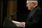 Vice President Dick Cheney delivers remarks on U.S. economic and national security policy issues Monday, April 21, 2008, to the Manhattan Institute in New York. White House photo by David Bohrer