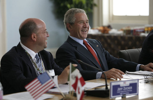 President George W. Bush shares a laugh with NBC Universal CEO Jeff Zucker Tuesday, April 22, 2008, during a meeting with the North American Competitiveness Council, attended by Mexico's President Felipe Calderon and Canada's Prime Minster Stephen Harper at the 2008 North American Leaders' Summit in New Orleans. White House photo by Joyce N. Boghosian