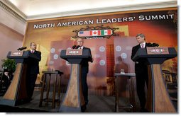 President George W. Bush delivers his remarks at a joint news conference Tuesday, April 22, 2008 in New Orleans, with Mexico's President Felipe Calderon and Canada's Prime Minster Stephen Harper. White House photo by Joyce N. Boghosian