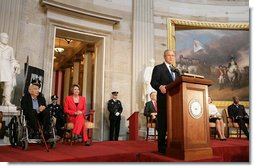 "President George W. Bush delivers remarks Wednesday, April 23, 2008, during the Congressional Gold Medal Ceremony honoring Dr. Michael Ellis DeBakey at the U.S. Capitol. In honoring the 99-year-old Chancellor Emeritus of the Baylor College of Medicine and the Director of the DeBakey Heart Center, President Bush said, ""Dr. DeBakey has an impressive resume, but his truest legacy is not inscribed on a medal or etched into stone. It is written on the human heart. His legacy is the unlost hours with family and friends who are still with us because of his healing touch. His legacy is grandparents who lived to see their grandchildren. His legacy is holding the fragile and sacred gift of human life in his hands -- and returning it unbroken."" White House photo by Chris Greenberg"