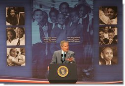 "President George W. Bush delivers remarks Thursday, April 24, 2008, during the White House Summit on Inner-City Children and Faith-Based Schools. Said the President, ""I am fully aware that in inner-city America some children are getting a good education, but a lot are consigned to inadequate schools. I believe helping these children should be a priority of a nation. It's certainly a priority to me.""  White House photo by Chris Greenberg"