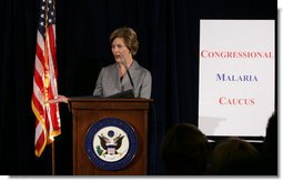 Mrs. Laura Bush addresses members of the Congressional Malaria Caucus on President Bush's Malaria Initiative Thursday, April 24, 2008, at the U.S. Captiol in Washington, D.C. White House photo by Shealah Craighead