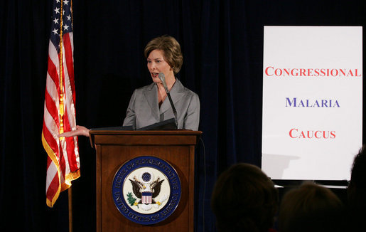 Mrs. Laura Bush addresses members of the Congressional Malaria Caucus on President Bush's Malaria Initiative Thursday, April 24, 2008, at the U.S. Capitol in Washington, D.C. White House photo by Shealah Craighead