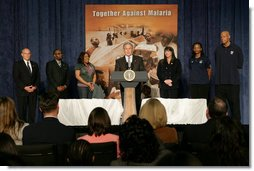 President George W. Bush addresses his remarks in honor of Malaria Awareness Day Friday, April 25, 2008, during his visit to the Northwest Boys & Girls Club in Hartford, Conn., where the Boys & Girls members were learning about the cause and prevention of malaria. Earlier in the day President Bush signed a proclamation on the United States commitment to help fight malaria in Africa and around the world. White House photo by Chris Greenberg