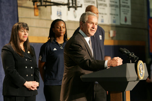 President George W. Bush gestures as he addresses his remarks in honor of Malaria Awareness Day Friday, April 25, 2008, during his visit to the Northwest Boys & Girls Club in Hartford, Conn., where the Boys & Girls members were learning about the cause and prevention of malaria. Earlier in the day President Bush signed a proclamation on the United States commitment to help fight malaria in Africa and around the world. White House photo by Chris Greenberg