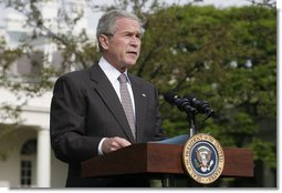 "President George W. Bush delivers a statement Friday, April 25, 2008, on the South Grounds of the White House regarding the economic stimulus rebate checks. ""I'm pleased that the Treasury Department has worked quickly to get the money into the hands of the American people. Starting Monday, the effects of the stimulus will begin to reach millions of households across our country.""  White House photo by Joyce N. Boghosian"
