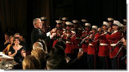 The Marine Band, under the direction of President George W. Bush, entertains Saturday, April 26, 2008, during the White House Correspondents' Association Dinner at the Washington Hilton Hotel.  White House photo by Joyce N. Boghosian