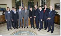 "President George W. Bush meets with Co-Chairs of the U.S. Brazil CEO Forum Monday, April 28, 2008, in the Oval Office. Said the President afterwards, ""It is my honor to welcome the U.S.-Brazil CEO Forum here to Washington. It's an indication of the importance that we both place on our bilateral relations. Brazil is a very powerful, very important country in our neighborhood, and it's really important for this administration and future administrations to work closely with the Brazilian government, like it is important for our respective business communities to work closely together."" White House photo by Chris Greenberg"