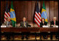 President George W. Bush addresses his remarks at the U.S.-Brazil Forum, Monday, April 28, 2008, at the Eisenhower Executive Office Building in Washington, D.C., joined by U.S. Secretary of Commerce Carlos Gutierrez, left and Brazil Presidential Chief of Staff and Minister Dilma Vana Rousseff, and Miguel Jorge, Brazil's Minister of Development, Industry and Foreign Trade. White House photo by Chris Greenberg