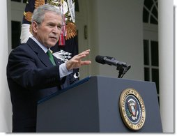 "President George W. Bush makes a statement during a news conference Tuesday, April 29, 2008, in the Rose Garden. In urging Congress to act on his economic proposals, the President said, ""In all these issues, the American people are looking to their leaders to come together and act responsibly. I don't think this is too much to ask even in an election year.""  White House photo by Chris Greenberg"