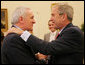 President George W. Bush offers a warm welcome Prime Minister Bertie Ahern of Ireland on his visit to the White House Wednesday, April 30, 2008. White House photo by Chris Greenberg
