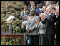 New York Giants Co-Captain Army Lt. Col. Greg Gadson, center, is applauded as he is recognized by President George W. Bush Wednesday, April 30, 2008 at the White House, during an event celebrating the Giant's Super Bowl XLII victory. White House photo by Chris Greenberg