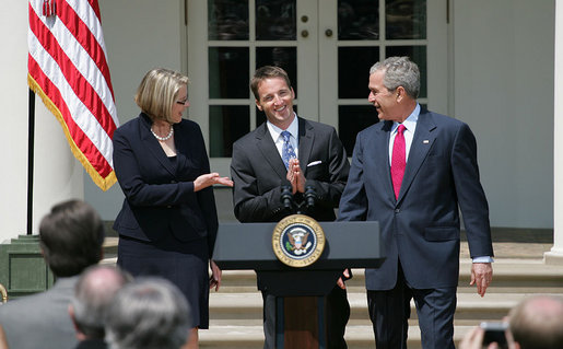Mike Geisen, the 2008 National Teacher of the Year, is flanked by President George W. Bush and Secretary of Education Margaret Spellings as they welcome him to the Rose Garden Wednesday, April 30, 2008. The 35-year-old, 7th-grade teacher from Crook County Middle School in Prineville, Ore., was chosen from 56 nominees, including the four U.S. territories, the District of Columbia and the Department of Defense Education Activity. White House photo by Shealah Craighead